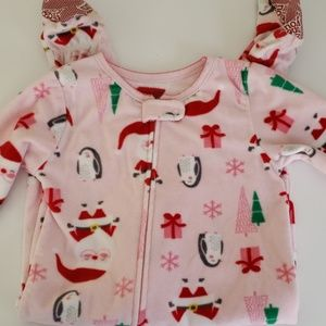 Penguin and santa fleece